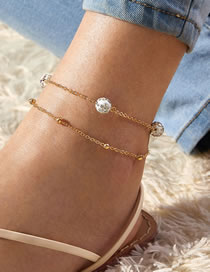 Fashion Golden Diamond-studded Ball Alloy Multilayer Anklet