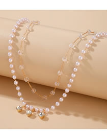 Fashion White Diamond Pearl Crystal Beaded Alloy Multilayer Necklace