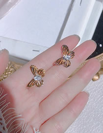 Fashion Golden Hollow Three-dimensional Butterfly Alloy Earrings