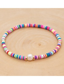 Fashion Color Mixing Natural Freshwater Pearl Soft Ceramic Beaded Anklet