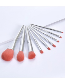 Fashion 9 Silver Tubes Plastic Handle Aluminum Tube Makeup Brush Set