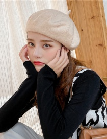Fashion Milky White Beaded Panel Knitted Beret