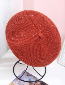 Fashion Brick Red Corduroy Letters With Diamonds Solid Color Knitted Beret
