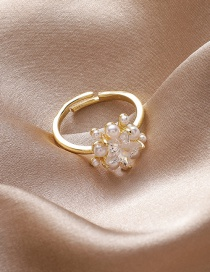 Fashion Five-pointed Star Pearl And Diamond Geometric Alloy Open Ring