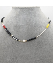 Fashion Color Mixing Rice Beads Letter Natural Pearl Beaded Necklace