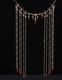 Fashion Golden Flower Round Bead Crystal Chain Alloy Masking Curtain