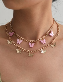 Fashion Golden Resin Butterfly Alloy Multilayer Necklace