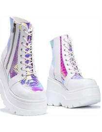 Fashion White Trifle With High-top Color Matching Lace Up Large Size Martin Boots