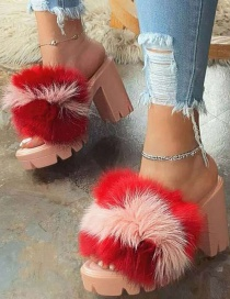 Fashion Pink Color Block Thick High-heeled Fur Slippers