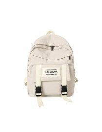 Fashion Creamy-white Letter Logo Buckle Stitching Backpack