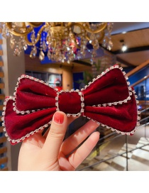 Fashion Small Model (red) Diamond-studded Velvet Fabric Double-layer Bow Hairpin