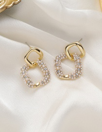 Fashion Golden Diamond And Pearl Square Hollow Earrings