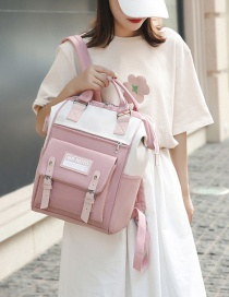 Fashion Pink Stitching Contrast Belt Buckle Backpack