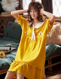 Fashion Yellow Bow Tie Pure Cotton Thin Short Sleeve Maternity Pajamas