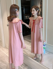 Fashion Bean Paste Collar Summer Thin Short-sleeved Cotton Long Pajamas