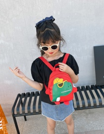 Fashion Red Childrens School Bag 3-6 Years Old Small Dinosaur Backpack