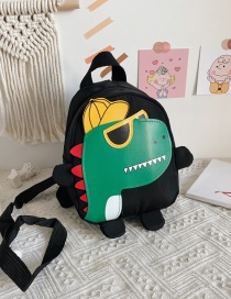 Fashion Black Childrens School Bag 3-6 Years Old Small Dinosaur Backpack