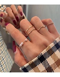 Fashion Gold Color Alloy Water Ripple Pearl Ring Set