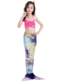 Fashion Retro Color Halter Tether Ruffle Print Childrens Mermaid Split Swimsuit