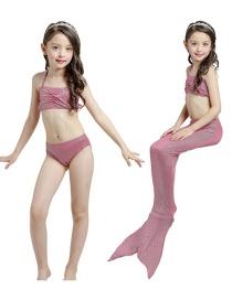 Fashion Plum Red Mermaid Swim Skirt Halter Folds Childrens Mermaid Split Swimsuit