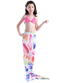 Fashion Color Mixing Printed Pleated Childrens Mermaid Split Swimsuit
