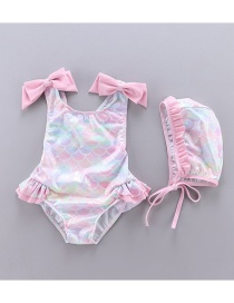 Fashion Fish Scale Rainbow Color Fish Scale Print Bow Ruffled One-piece Swimsuit