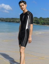 Fashion Black One-piece Short Sleeve Mens Adult Quick-drying One-piece Swimwear