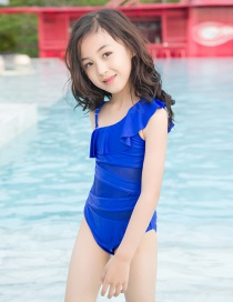 Fashion Blue Childrens One-piece Lace Rotator Sleeve Swimsuit