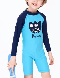 Fashion Blue Childrens One-piece Long-sleeved Coconut Swimsuit