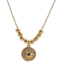 Fashion Six Pointed Star Round Cake Six-pointed Star Lock Key Copper Inlaid Zircon Pendant Necklace