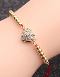 Fashion Red Rope Copper Beads + Love Copper Micro Inlaid Zircon Love Foot Letter Bracelet
