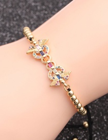 Fashion Black Rope Bead Chain Gold Micro-inlaid Zircon Heart Wings Hollow Bracelet