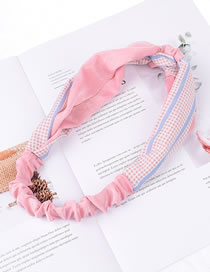 Fashion Imitation Silk Color Matching Pink + Lattice Faux Silk Check Color Knotted Headband