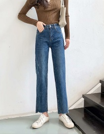 Fashion Denim Blue Permeable Washed High-rise Stretch Raw Jeans