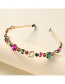 Fashion Rectangle Mixed Color Alloy Inlaid Glass Diamond Resin Geometric Thin-edged Headband