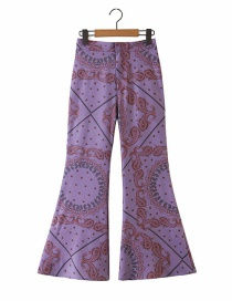 Fashion Purple Floral Print Straight-leg Flared Pants
