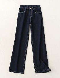 Fashion Dark Blue Washed High Waist Wide Leg Mopping Trousers