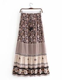 Fashion Beige Printed Stitching Lace Fringed Skirt