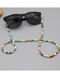 Fashion Color Mixing Natural Pearl Rainbow Rice Bead Letter Glasses Chain