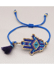 Fashion Royal Blue Rice Beads Hand-woven Tassel Palm Bracelet