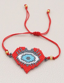 Fashion Red Beaded Love Eyes Rice Beads Hand-woven Bracelet