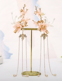 Fashion Pink Flower Pearl Tassel Alloy Hairpin