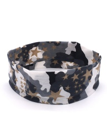 Fashion Five-pointed Star Brown Camouflage Print Sports Yoga Wide Brim Headband