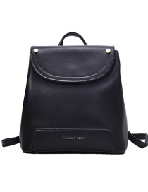 Fashion Black Lacquered Gilded Letters Stitching Solid Color Backpack