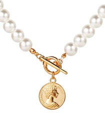 Fashion Golden Pearl Round Embossed Portrait Alloy Necklace
