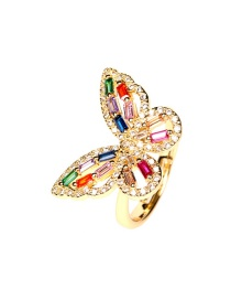 Fashion Color Copper Inlaid Zircon Butterfly Hollow Open Ring