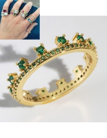 Fashion Green Gold-plated Copper And Diamond Crown Ring