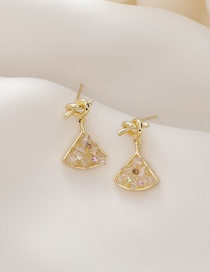 Fashion Golden Diamond And Knotted Fan-shaped Alloy Resin Earrings