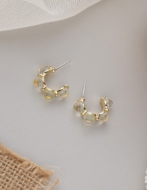 Fashion Colorful White Geometric C-shaped Alloy Earrings With Diamond Eyes