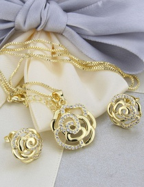 Fashion Rose Flower Copper Inlaid Zircon Rose Flower Hollow Necklace Earrings